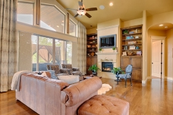 Family Room Built Ins Fireplace and Deck