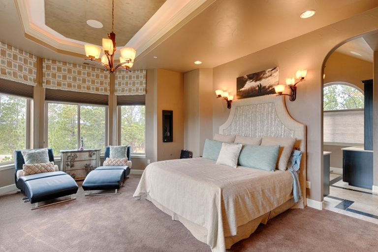 Master Bedroom with Coffered Ceiling and Lighting Detail